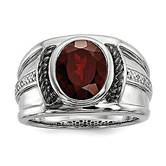 925 Sterling Silver Polished Prong set Gift Boxed Garnet en Diamond Oval Black Rhodium verguld Mens Ring Jewelry Gifts f