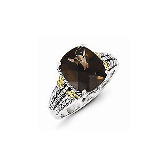 925 Sterling Zilver Gepolijst Prong set met 14k 3.70Smokey Quartz Ring Sieraden Cadeaus voor Vrouwen - Ring Grootte: 6 tot 8