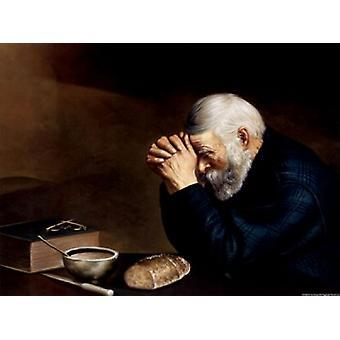 Old Man Praying Poster Print by Modern art (16 x 12)