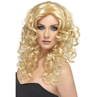 Smiffy's Long Blonde Curly Wig Glamour Wig Fancy Dress Accessory