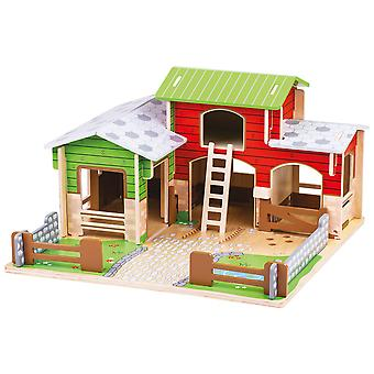 Bigjigs Toys Wooden Cobblestone Farm with Working Gates, a Stable, Hay Loft