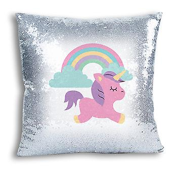 i-Tronixs - Unicorn Printed Design Silver Sequin Cushion / Pillow Cover for Home Decor - 4