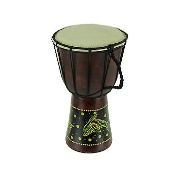 Aboriginal Dot Painted Dolphin Wooden Coastal Theme Djembe Drum 11 inch Tall