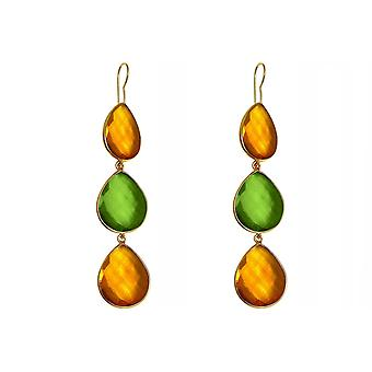 Gemshine earrings green peridots yellow citrine drop 925 silver or gold plated