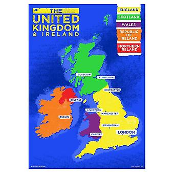 Grindstore UK & Ireland Country Map Mini Poster