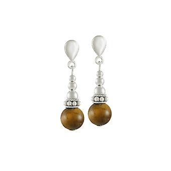 Eternal Collection Bella Tiger's Eye Silver Tone Drop Clip On Earrings