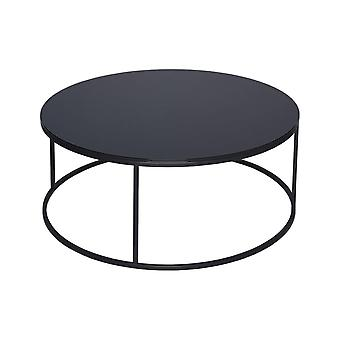 Gillmore Black Glass And Black Metal Contemporary Circular Coffee Table