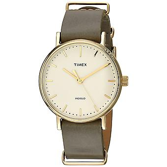 Timex Unisex Fairfield 37 oliva pelle Slip-Thru Strap Watch TW2P98500