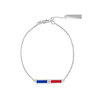New York Rangers Sterling Silver Diamond Chain Chain Bracelet In Blue and Red