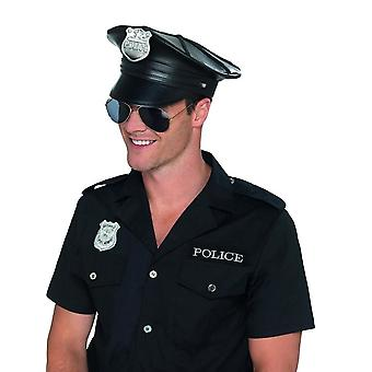 Deluxe Police Hat Black Faux Leather, Cops & Robbers Fancy Dress, One Size