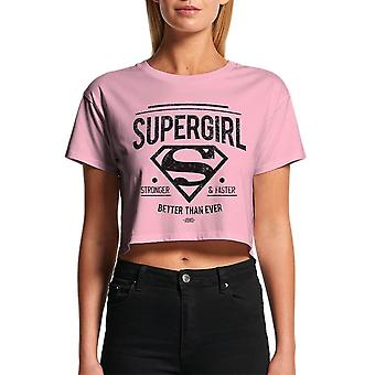 Women's Supergirl Stronger Faster Cropped Pink T-Shirt