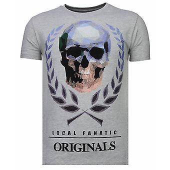 Skull Originals-Rhinestone T-shirt-Grey