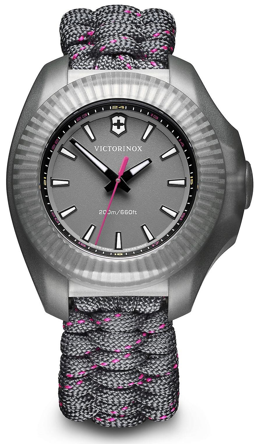 Victorinox I.N.O.X V Grey Paracord Silver Stainless Steel Quartz Ladies Watch 241771