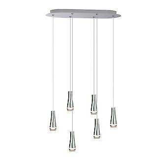 Pendant Light Chrome Ceiling light Home Decoration Six Pendant Oval Canopy Lamp