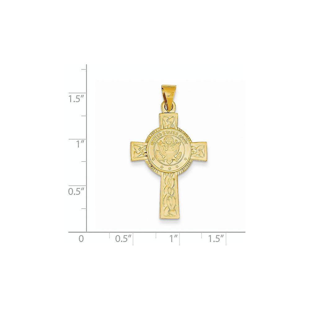 14k Yellow Gold Solid Open back Polished back Army Insignia Religious Faith Cross Pendant Necklace Measures 28x20mm Jewe