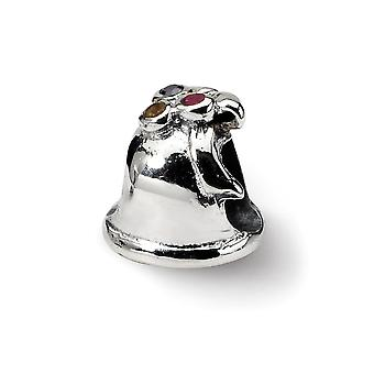 925 Sterling Silver Polished finish Reflections SimStars Bell Bead Charm Pendant Necklace Jewely Gifts for Women