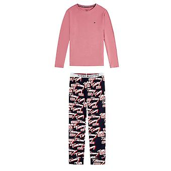 Tommy Hilfiger Girls Tommy Logo Long Sleeve Pyjama Set - Dusty Rose/Navy Blazer