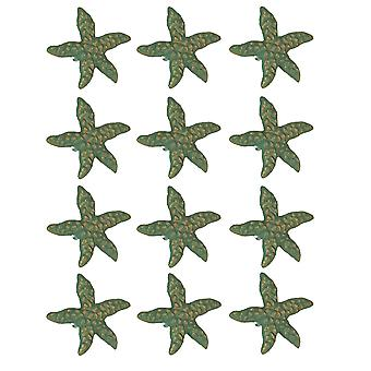 Green Verdigris Cast Iron Starfish Drawer Pull Set of 12