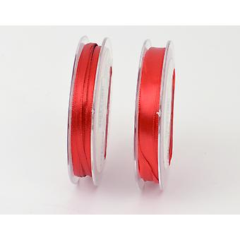 10m Christmas Red 3mm Wide Polyester Satin Craft Ribbon