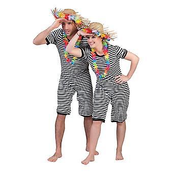 Clown Unisex Kostüm 20er Jahre Badeanzug schwarz geringelt  20iger Jahre Jahrmarkt Gewichtheber Anzug Herren Kostüm