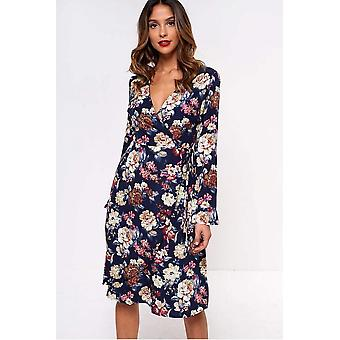iClothing Lilianne Floral Wrap Dress In Navy-16