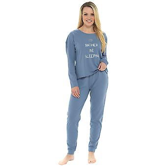 Damen 100 % Baumwolle Marl Effekt Pyjama Lounge Set
