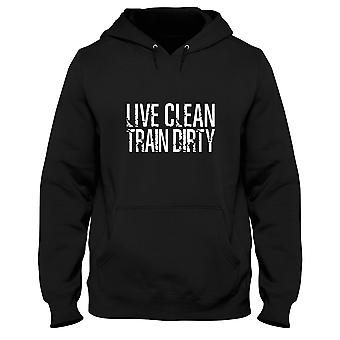 Black man hoodie fun2377 live clean train dirty