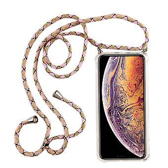 Telefonní náhrdelník pro Apple iPhone XR-smartphone s pásem-přívodní šňůra s pouzdrem pro zavěšených růžových