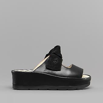 Fly London Bade954fly Ladies Leather Wedge Heel Sandals Black