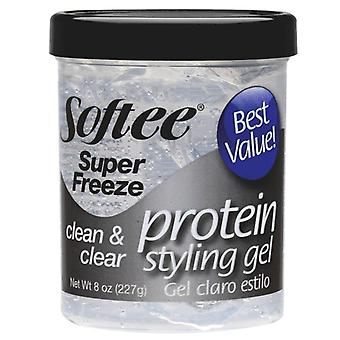 Softee super freeze protein styling gel, clean & clear, 8 oz