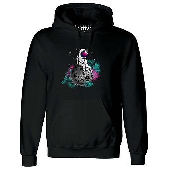 Reality glitch spaceman moon mens hoodie