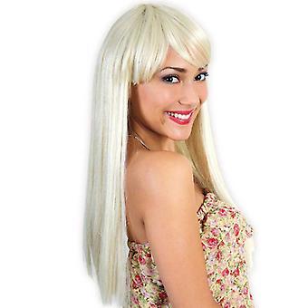 Pruik blond lang haar met pony