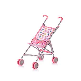Chipolino Doll Buggy Sima Daisy Pink Flowers Foldable Double Wheels 3 Point Belt