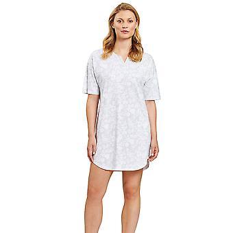 Rösch 1203010-16420 Women's Smart Casual Flower Stripe Grey Floral Nightdress