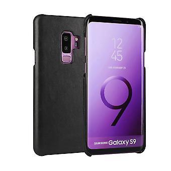 Samsung Galaxy S9 tapauksessa, tyylikäs aito suojaava nahkakansi, musta