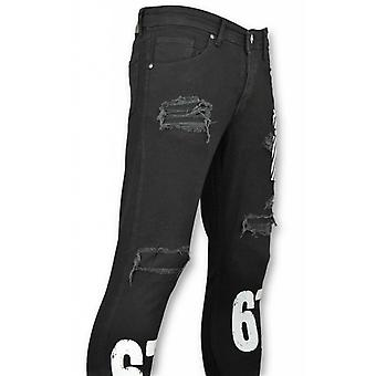 Skinny Jeans - Stretch Jeans - White Print Black