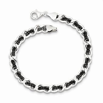 925 Sterling Silver and Ruthenium plated Weaved Curb Bracelet 7.5 Inch Jewelry Gifts for Women