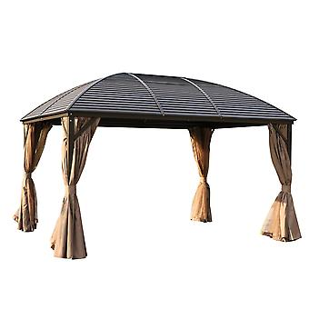 Outsunny 3 x 4m Patio Aluminium Gazebo Hardtop Metal Roof Canopy Party Hardtop Pavilion Tent Garden Outdoor Shelter with Mesh Curtains & Side Walls