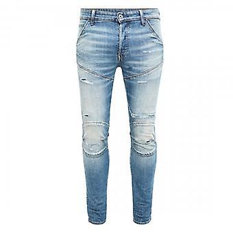 G-Star Raw 5620 3D Slim Worn In Ripped Blue Denim Jeans 51025 B767 B190