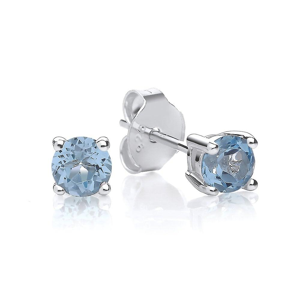 David Deyong Sterling Silver Blue Topaz Stud Earrings November Birthstone
