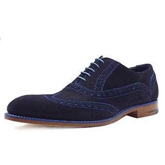 Barker Grant Men's Smart Wingtip Brogue Shoes In Blue Suede
