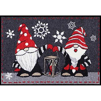 Salon Leeuw wasbaar vloer mat geheim deze Santa met lantaarn 50 x 75 cm vuil overlapping zeem binnen + buiten leuk motief deur mat/tapijt