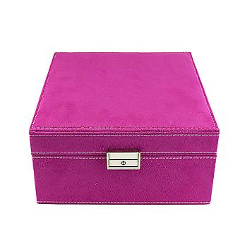 Jewellery box, suede-Pink, 20 x 20 cm