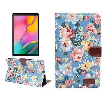 Samsung Galaxy Tab 8.0-tuumainen (2019) kotelo, PU nahkakansi, jalusta, korttipaikat, uni-/herätystoiminto, sininen
