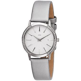 JOBO reloj de mujer de cuarzo acero inoxidable con SWAROVSKI® ELEMENTS correa de cuero gris
