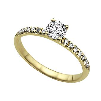 1.04 Carat E SI1 Diamond Engagement Ring 14K Yellow Gold Solitaire w Accents 4 Prongs Round