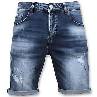 Shorts - Revet Kort - 9085 - Blå