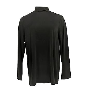 Susan Graver Women's Top Modern Essentials Liquid Knit Tunic Black A369121