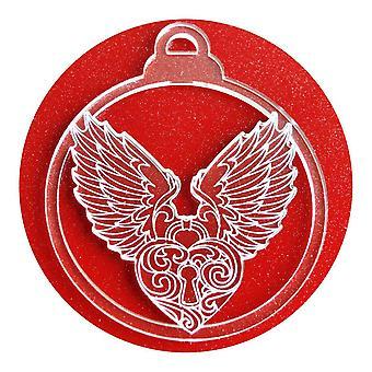 6 Pk の天使の羽とハートのアクリルのクリスマスの装飾