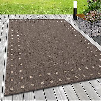 Moderne vlakke stofdeken binnen openluchtrandpatroon sisal blik in bruin